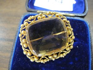 Lot 154 - Citrine gold broach - Sold for £120