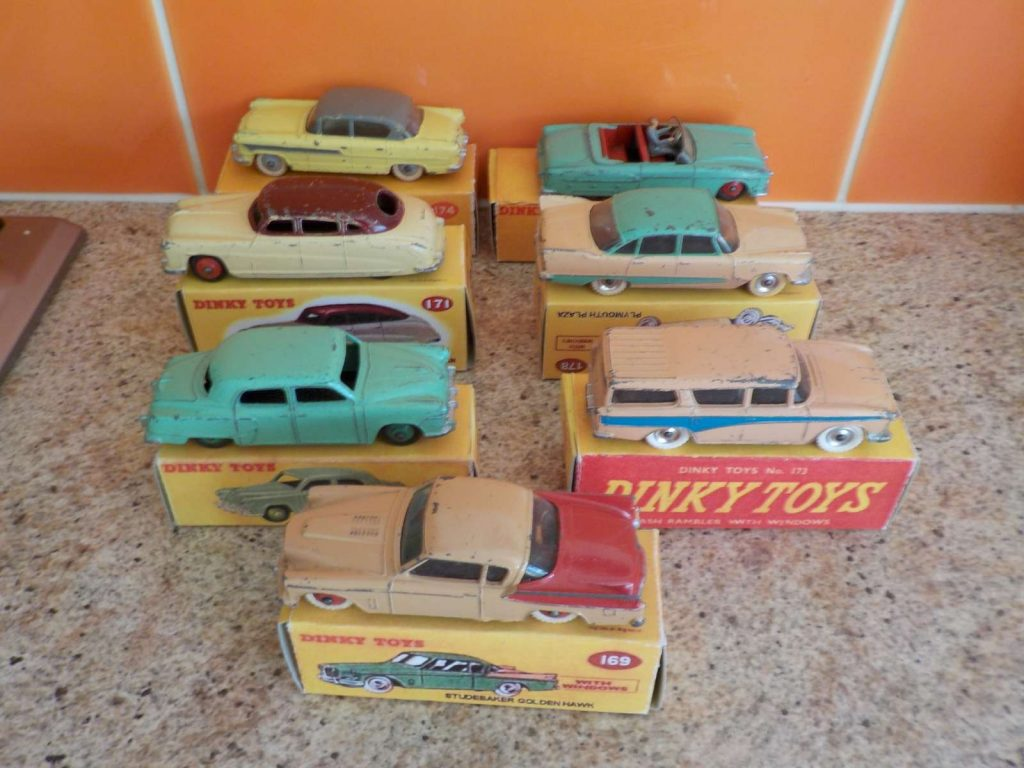 Vintage Dinky American cars in boxes