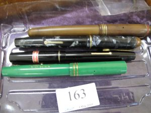 Lot 163 - 4 old fountain pens with 14ct gold nibs - Sold for £55