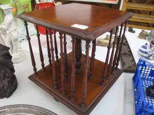 Lot 204 - Edwardian Magazine Rack on rotating pedestal - Sold for £35