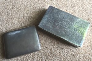 Silver Cigarette and Card Boxes