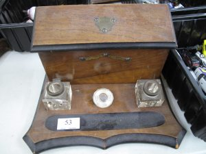Lot 53 - Edwardian Inkwells in wooden stand - Sold for £25