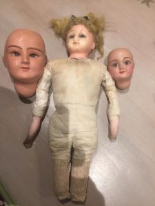 1850s wax over composition doll - pair of Sicione dolls heads