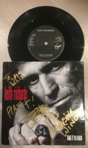 Keith Richard signed single Take It So Hard