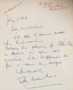 Stanley Matthews letter 1960