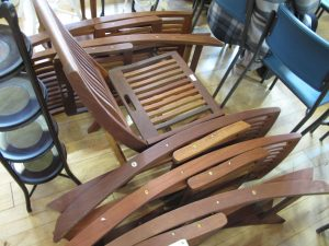 Lot 328 - 6 x Wooden Garden Chairs - Sold for £55