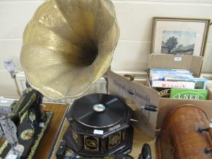 Lot 22 - HMV Gramaphone with horn working - Sold for £55