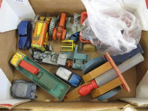 Lot 184 - Collection of Dinky Toys, Tin Toys and Wooden Toy - Sold for £65