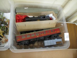 Lot 72 - Hornby Dublo OO Guage 0-6-2 Tank Locomotive and 3 Coaches and 5 Trucks - Sold for £55