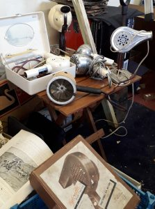 Several vintage hair dryers
